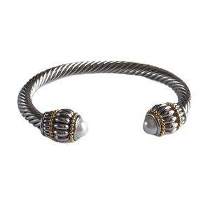 🆕18K Gold Silver Cable Bangle Pearl Bracelet!